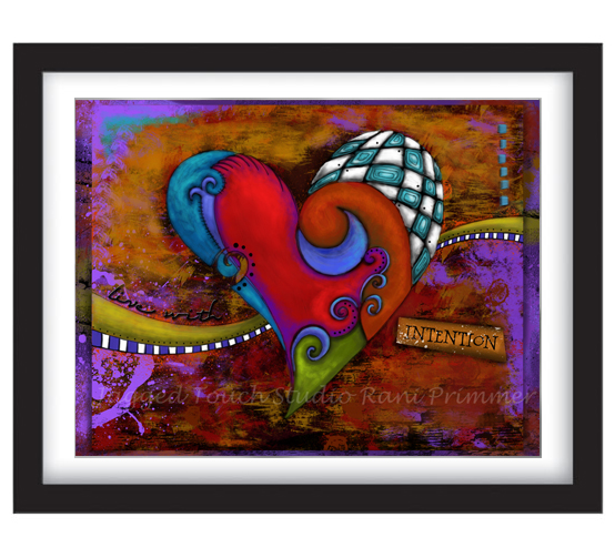 Live With Intention Heart Framed Sample