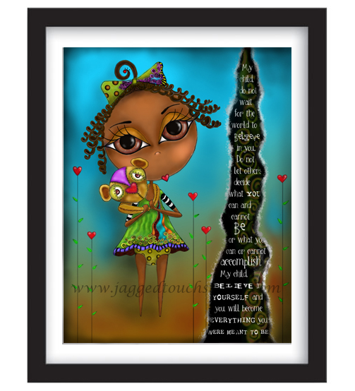 My Child Believe AA Girl Framed Sample