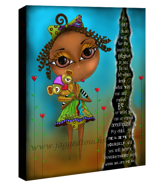 My Child Believe Girl AA Canvas Sample