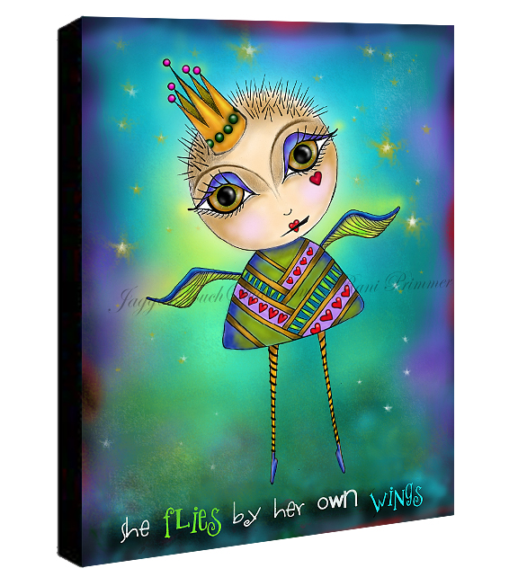 She Flies Canvas Sample